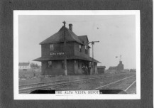 This exterior view of the Rock Island depot at Alta Vista dates from about 1900. This was the original two-story depot built when the railroad was constructed in 1887.