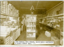This interior view of the Star Mercantile store dates from about 1900. Identified here, left to right are John Eberle, Emil Syring, Mamie Kahle Lempenaue, ad Audria Hunger Gale.