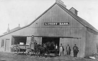 H.W. Heine Livery and Feed Barn, McFarland, Kansas Postcard
