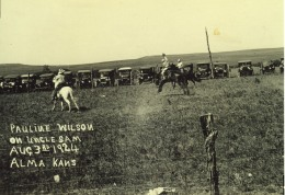Bronc rider, Pauline Wilson rides Uncle Sam at the Frank Brothers' Silver Moon Ranch rodeo arena in this view dated August 3, 1924. Photo courtesy Trish Ringel.