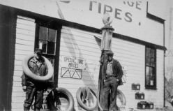 Walter Black, left and Ed Fisher, proprietor of the Southwest Trail Garage pose for this 1930s photo. The garage, built by Arthur Bowker, was located at the site of Maple Hill Fire District No. 4's station, today. Photo Courtesy Chester Todd.