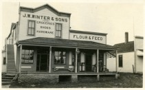J. W. Winter & Son store was located at the intersection of K-4 Highway and Southwest Douglas Road in Dover, Kansas. The store was freshly painted when this real photo postcard was created in about 1910. Photo Courtesy Michael Stubbs.