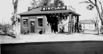 This Sinclair Station, built by Arthur Bowker in 1928, was being operated by Marvin Gurtler when this photo was taken in the late 1930s The station is located at the intersection of K-4 Highway and Southwest Douglass Road in Dover, Kansas.