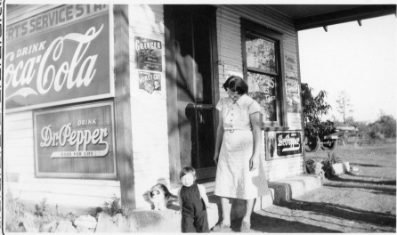 Emma Egert, seen here, operated this station and store, located five miles north of Eskridge, with her husband, Henry, during the 1930s. Photo courtesy Emmett and Carolyn Burleson.