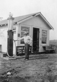 Harold Patterson stands at the gas pump at R.L. Hayes' station and store located on Southwest 21st Street, just east of Auburn Road. Kansas K-4 Highway ran down SW 21st Street as it exited west Topeka. Photo courtesy Dorothy Tholen.