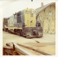 "The ATSF locomotive number 2761, also known as ""Old Polly"" pulls out of the depot at Harveyville for the last time in this view from 1972."