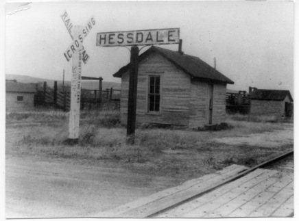 The Hessdale ATSF depot and stockyards are seen in this photograph taken in 1960 at the crossing of Hessdale Road and the railroad track.