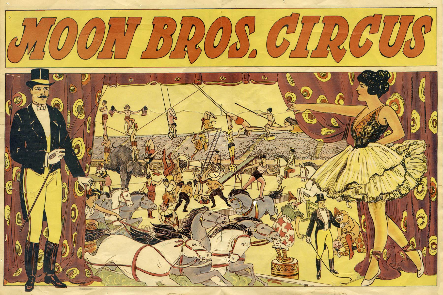 Moon Bros. Circus Poster, 1924