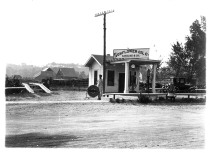Clem Muckenthaler operated this Sunflower Oil Co. gas station in Paxico in the 1920s. The station was located on Main Street, just east of Muckenthaler's Lumber Co. This view looks south. Photo courtesy Kansas State Historical Society, Kansasmemory.org.
