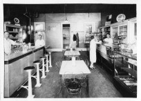 This interior view of an Alma, Kansas soda shop dates from the late 1930s.