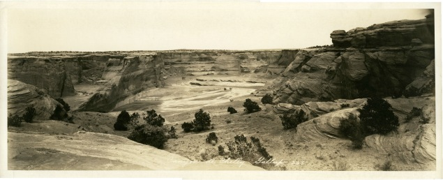 Louis Palenske created this panoramic view of Canyon de Chelly, located on the Navajo nation in northern Arizona during his photographic excursion to New Mexico and Arizona in about 1929.