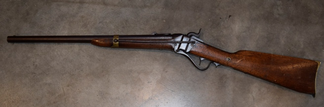 This Model 1852 rifle was built by the Sharps Rifle Manufacturing Company in Hartford, CT between 1853 and 1855. This rifle was a .52 caliber weapon.