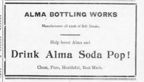 J. W. Barger advertised his very successful Alma Bottling Works products in this Alma Signal newspaper, dated 1907.