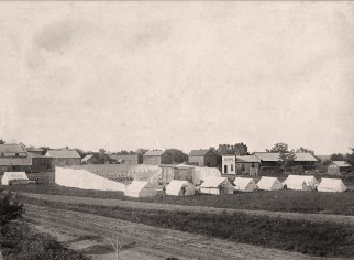 Jake and Henry Hecker's traveling medicine show was photographed by Gus Meier after it had erected its tents in Alma for a show in about 1900. Photo Courtesy Richard Hecker