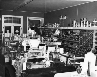 This 1950s interior view of Hendricks Hardware in Alma, Kansas shows the wide variety of merchandise and builders' supplies sold at the hardware store. Photo courtesy Gwen Hendricks