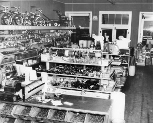 This interior view of Hendricks Hardware in Alma, Kansas from the 1950s shows the wide variety of merchandise the store offered, ranging from tacks to tricycles. Photo courtesy Gwen Hendricks