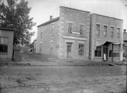 This early view of The Signal building, located at 319 Missouri Street was taken by Alma, Kansas photographer, Gus Meier. Phil Birk is seen standing in the doorway of his meat market located in the building to the right. Notice that when this photo was taken in the 1890s, Undorf's Meat Market had yet to be constructed. Photo courtesy Paul Gronquist.