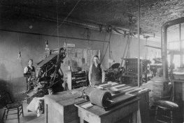 This interior view of Sage & Little's printing shop dates from about 1900.