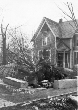 Dr. Trivett's house, the first home built in the new town of Eskridge, sustained damage from the storm.