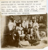 "Members of the Alta Vista Woman's Christian Temperance Union pose for a photo at a club meeting held at ""Mother Hull's"" home in about 1900. Quite by coincidence, Mrs. Hull's husband, Dr. R. W. Hull is seen above with a group of his buddies posing in front of ""Johnnie Mac's"" tavern in Alma."