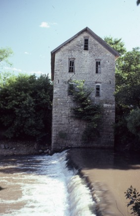 The Drinkwater Mill, located at Cedar Point, Kansas was photographed by Charles Herman in this view from the 1970s.