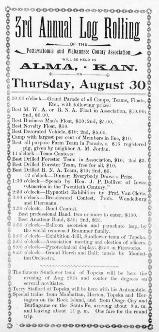 The Alma camp of the Modern Woodmen of America advertised the August 30th Log Rolling in The Alma Enterprise dated August 24, 1900.