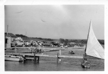 Dean Dunn photographed the public dock and beach at Lake Wabaunsee in this view from the early 1950s.