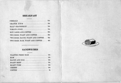 The menu from the Hotel Alma revealed that the kitchen served breakfast and sandwiches. Menu courtesy Ervan Stuewe.