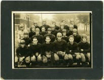 Eskridge Rural High School football team at the high school, circa 1927.