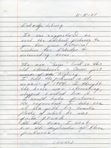 "Page one of a letter dated, 11-18-01 from Louise Lemons to the Eskridge library concerning her photographs of the ""Slim"" Sargent home at Dover, Kansas."