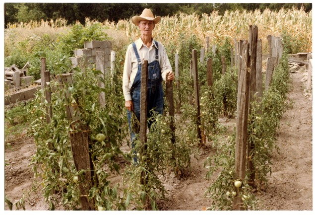 "Edgar ""Slim"" Sargent stands in his garden at his Dover, Kansas home in the summer of 1984."