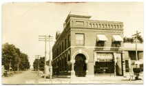 This real photo postcard of the Security State Bank in Eskridge, Kansas dates from about 1910. The Eskridge Post Office was located on the south side of the building.