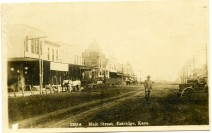 This view of Main Street in Eskridge, Kansas looks to the north from the 200 block in this Zercher Photo view from about 1907.