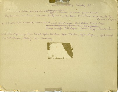 "Reverse side of photo, ""Womanless Wedding"", Eskridge, Kansas"