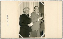 Maud and Fred Palenske were honored for Fred's 30-years in business in this photograph dated February 25, 1949. Photo courtesy the Palenske family.