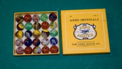 "These box of ""glassies"" containing 25 marbles sold for 50-cents when they were produced by Akro Agate Co. in the 1930s. This box was given to Brent Crow by his grandfather, Russell Woofter."